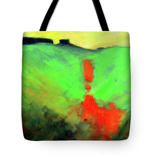 Tote Bag featuring the painting Valley View by Nancy Merkle