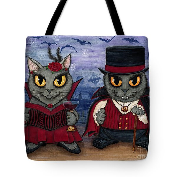 Vampire Cat Couple Tote Bag