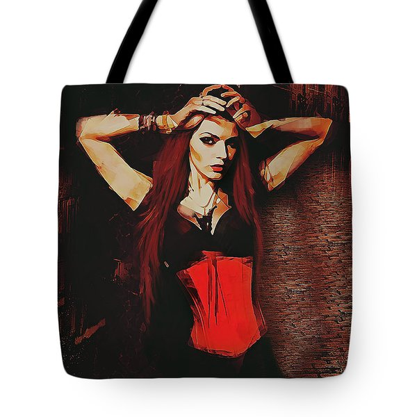Tote Bag featuring the digital art Vampire Compelled  by Galen Valle