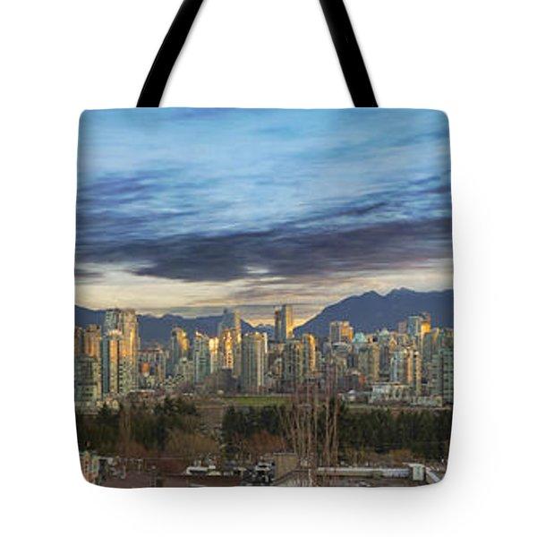 Van City Sunrise Tote Bag by David Gn
