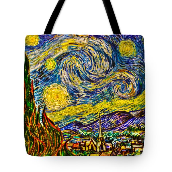 Van Gogh's 'starry Night' - Hdr Tote Bag by Randy Aveille