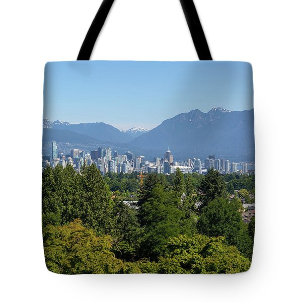 Vancouver Bc City Skyline From Queen Elizabeth Park Tote Bag by David Gn