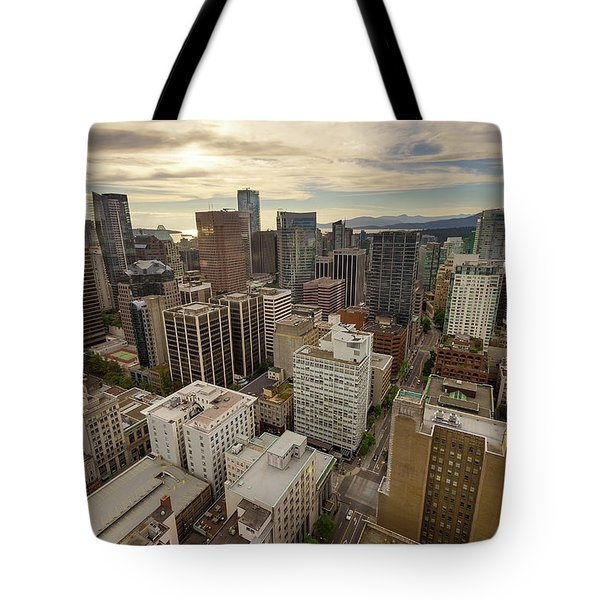 Vancouver Bc Cityscape Aerial View Tote Bag by David Gn