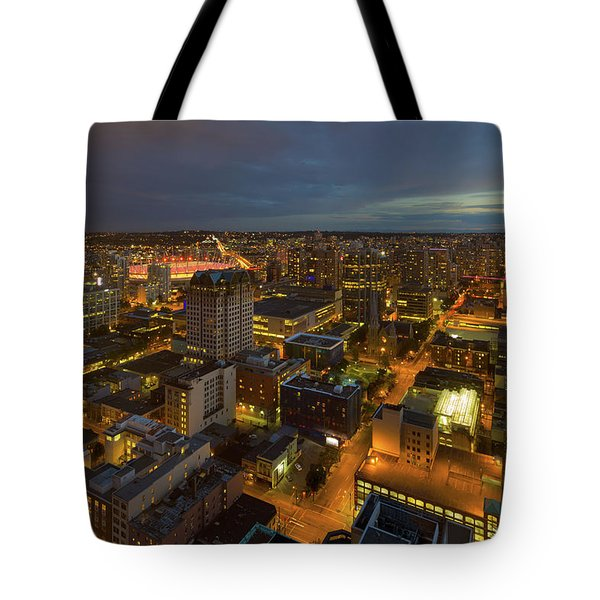 Vancouver Bc Cityscape During Evening Twilight Tote Bag by David Gn