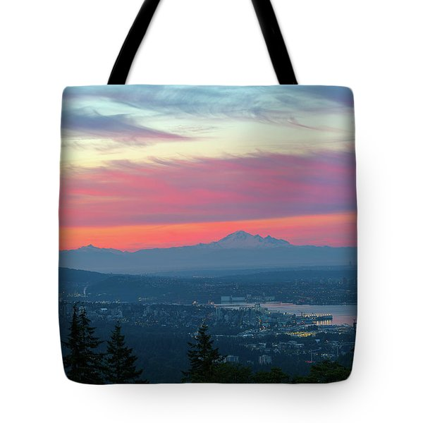 Vancouver Bc Cityscape With Cascade Range Morning View Tote Bag by David Gn