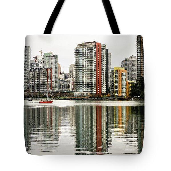 Vancouver Bc Sky Line Tote Bag by Menachem Ganon