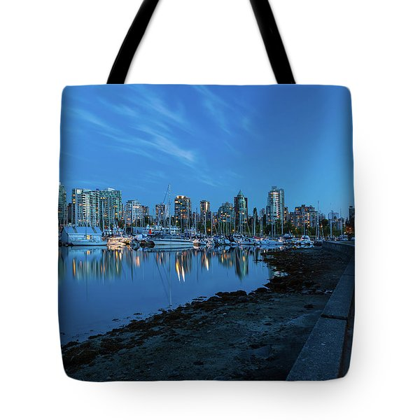 Vancouver Bc Skyline Along Stanley Park Seawall Tote Bag by David Gn