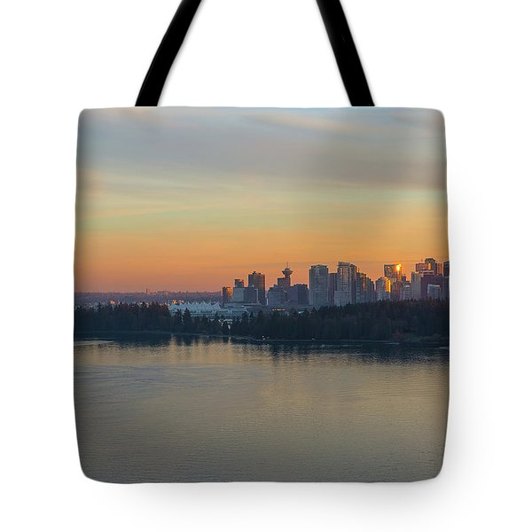 Vancouver Bc Skyline And Stanley Park At Sunset Tote Bag