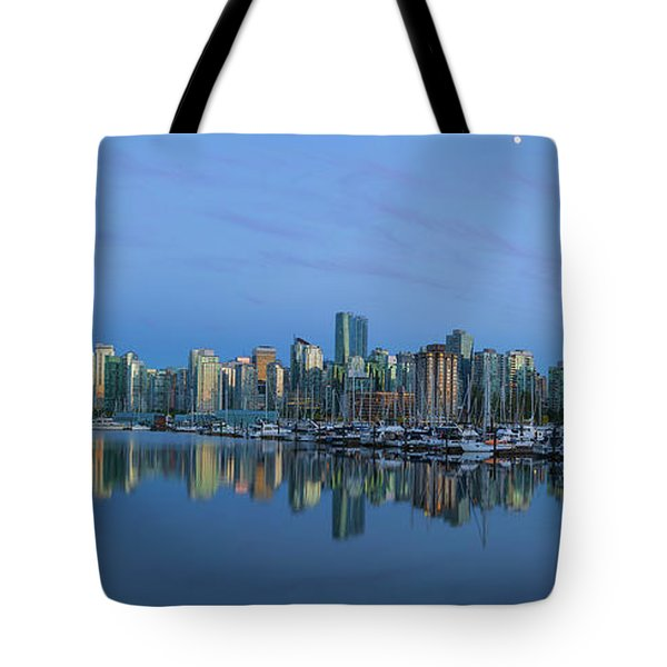Vancouver Bc Skyline During Blue Hour Panorama Tote Bag by David Gn