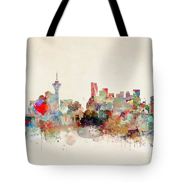 Tote Bag featuring the painting Vancouver City Skyline by Bri B