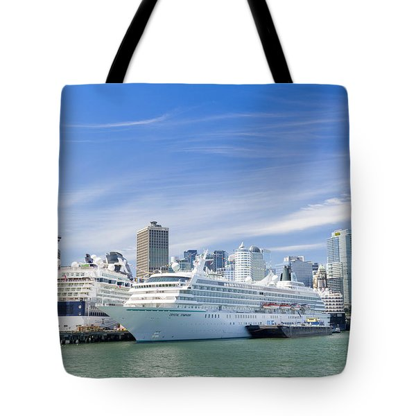 Tote Bag featuring the photograph Vancouver Cruise Ships by Ross G Strachan