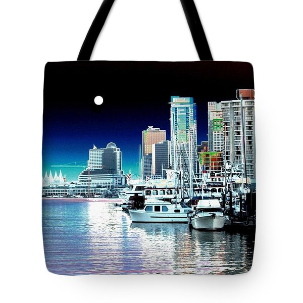 Vancouver Harbor Moonrise  Tote Bag by Will Borden