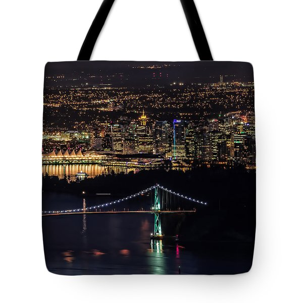 Vancouver Night From Cypress Mountain Tote Bag