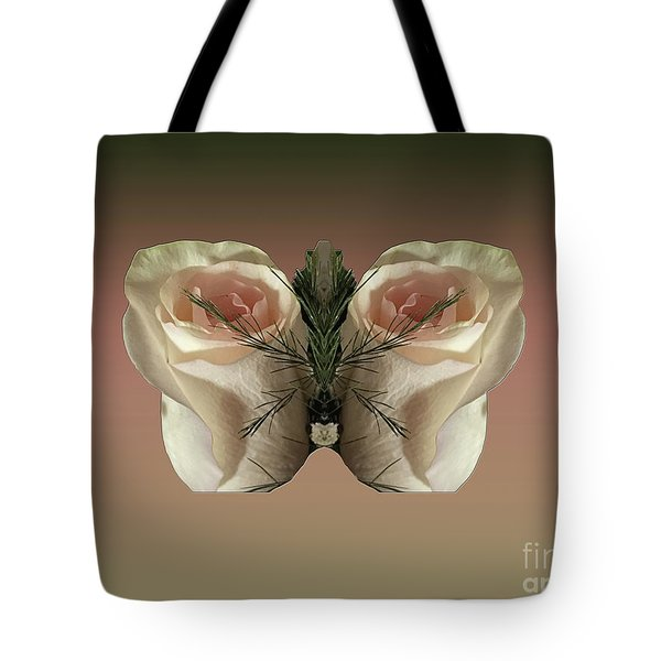 Vanilla Butterfly Rose Tote Bag