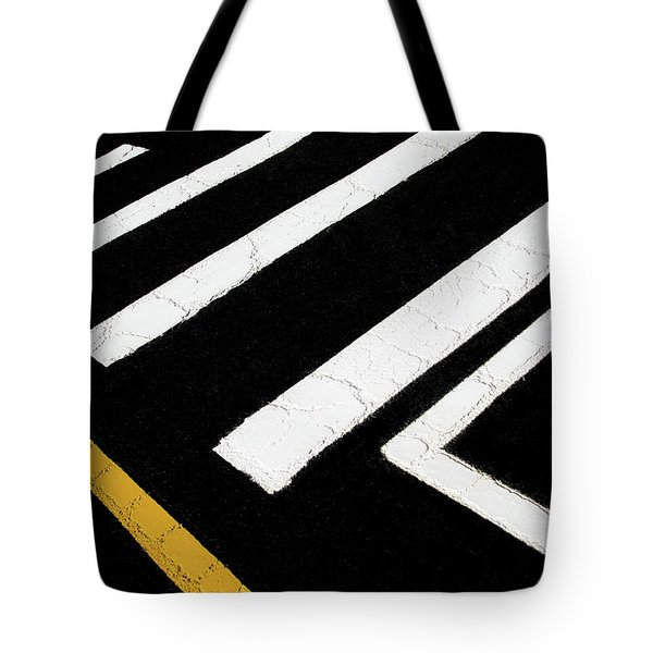 Tote Bag featuring the photograph Vanishing Traffic Lines With Colorful Edge by Gary Slawsky