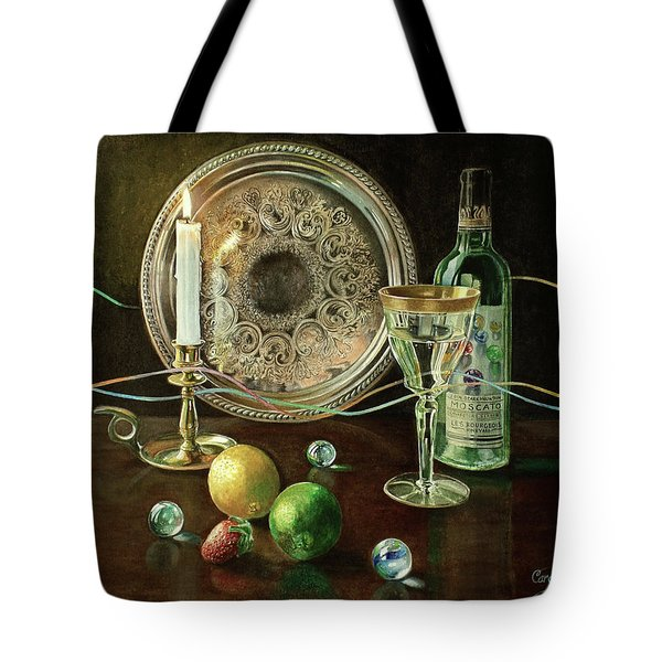 Vanitas Still Life By Candlelight With Les Bourgeois Wine Tote Bag
