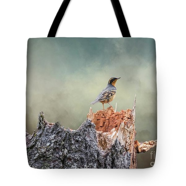 Varied Thrush On A Dead Tree Tote Bag