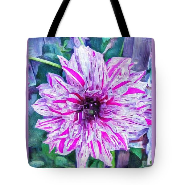 Variegated Dahlia In Oil Tote Bag