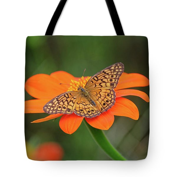 Variegated Fritillary On Flower Tote Bag