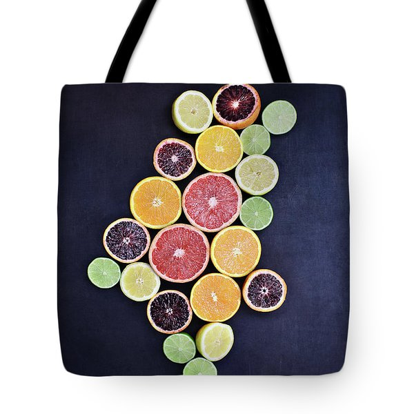 Tote Bag featuring the photograph Variety Of Citrus Fruits by Stephanie Frey