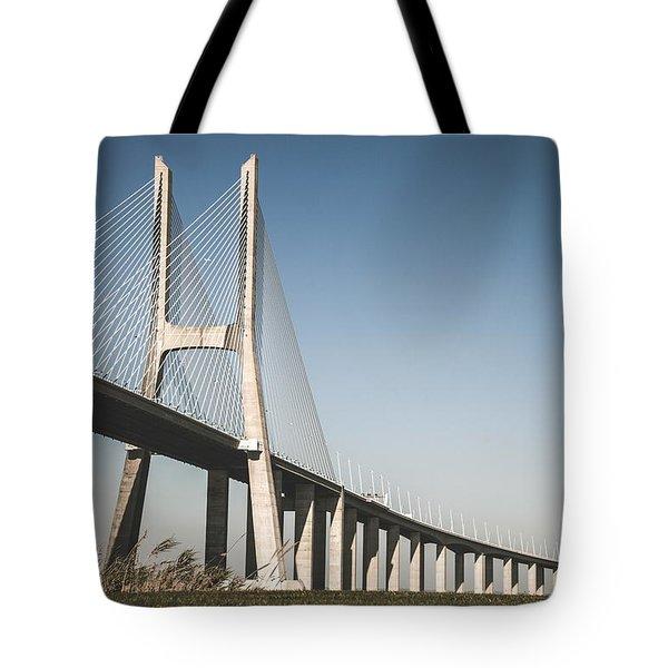 Vasco Da Gama Bridge In Lisbon Tote Bag