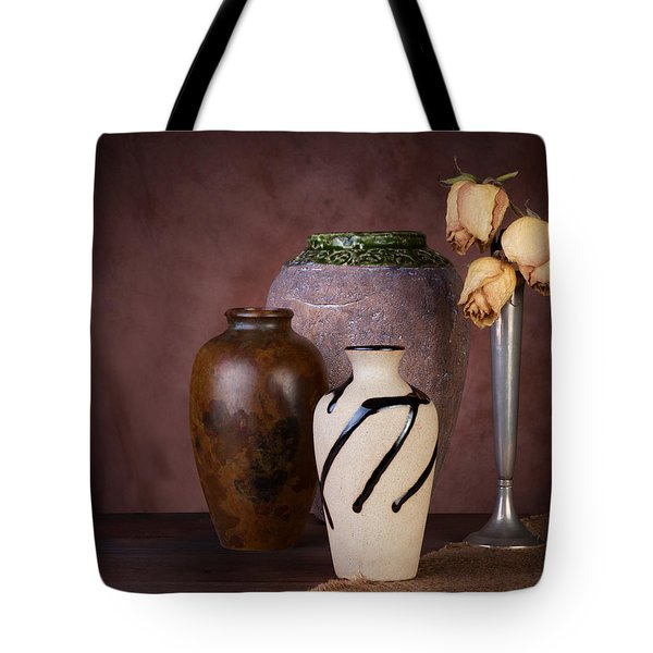 Vase And Roses Still Life Tote Bag