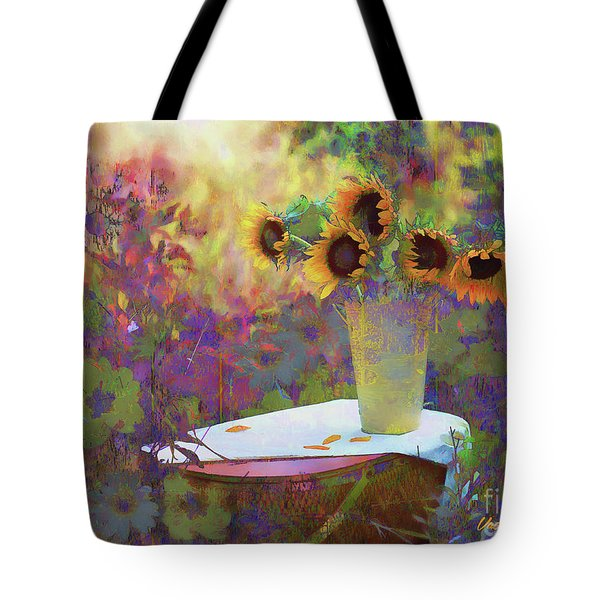 Tote Bag featuring the digital art Vase De Fleurs 2017 by Kathryn Strick