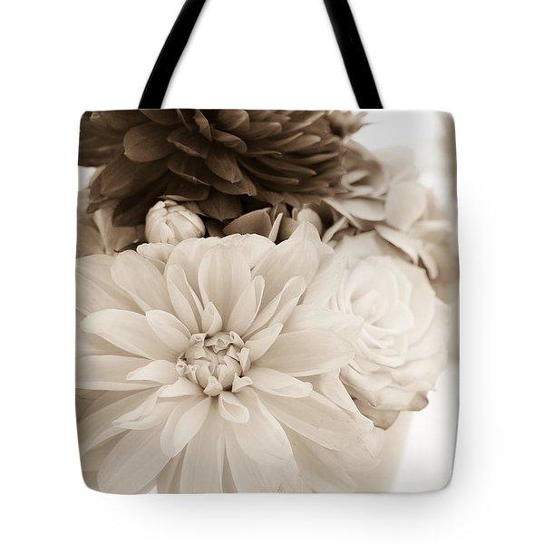 Vase Of Flowers In Sepia Tote Bag