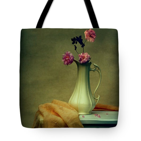 Vase Of Pink Roses Tote Bag
