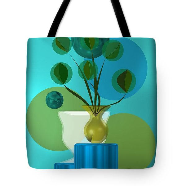 Vase With Bouquet Over Blue Tote Bag