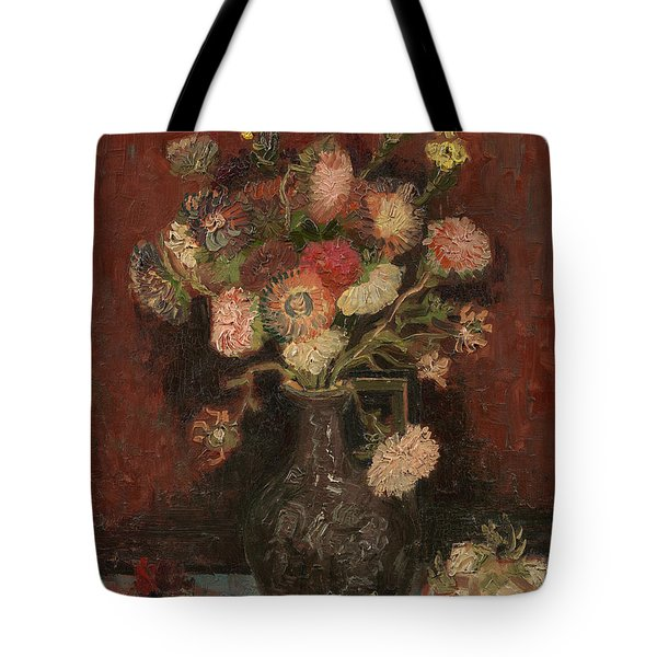 Vase With Chinese Asters And Gladioli Tote Bag