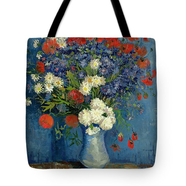 Vase With Cornflowers And Poppies Tote Bag