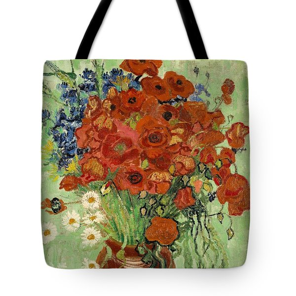Tote Bag featuring the painting Vase With Daisies And Poppies by Van Gogh