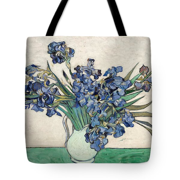 Tote Bag featuring the painting Vase With Irises by Van Gogh