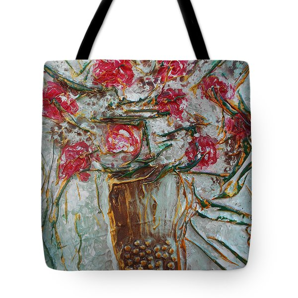 Vase With Roses Tote Bag