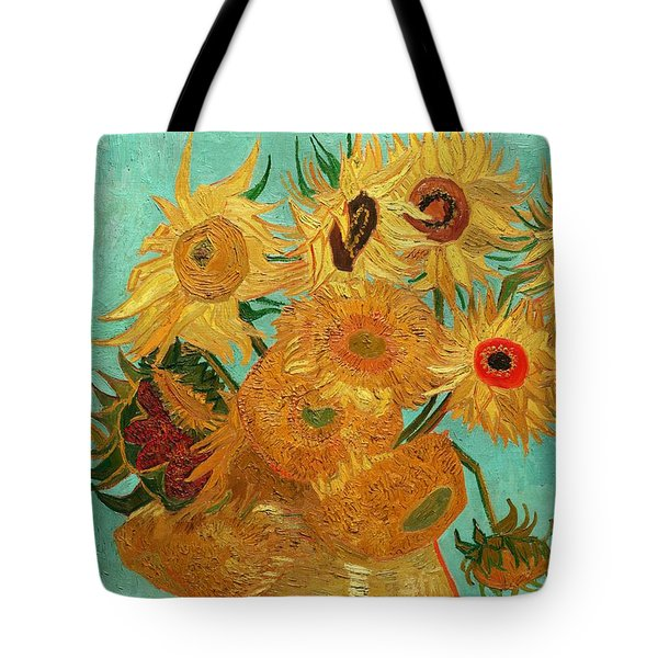 Tote Bag featuring the painting Vase With Twelve Sunflowers by Van Gogh