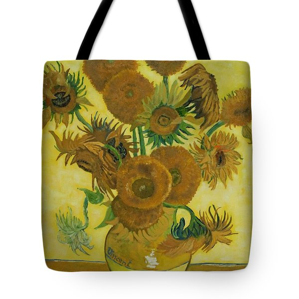 Vase Withfifteen Sunflowers Tote Bag