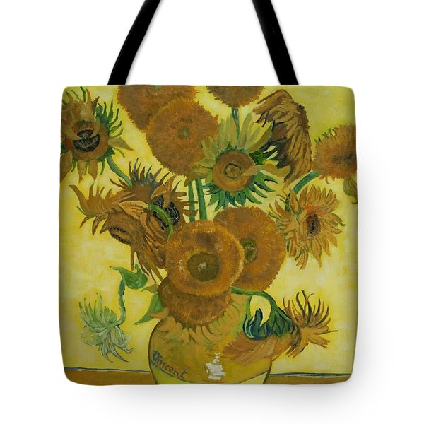 Vase Withfifteen Sunflowers Tote Bag