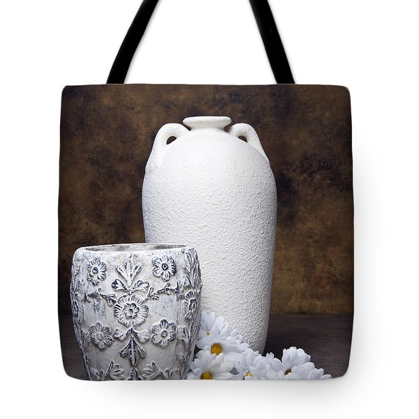 Vases With Daisies I Tote Bag by Tom Mc Nemar