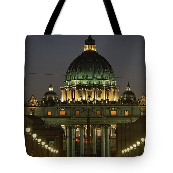 Vatican, Rome, Italy.  Night View Tote Bag by Richard Nowitz
