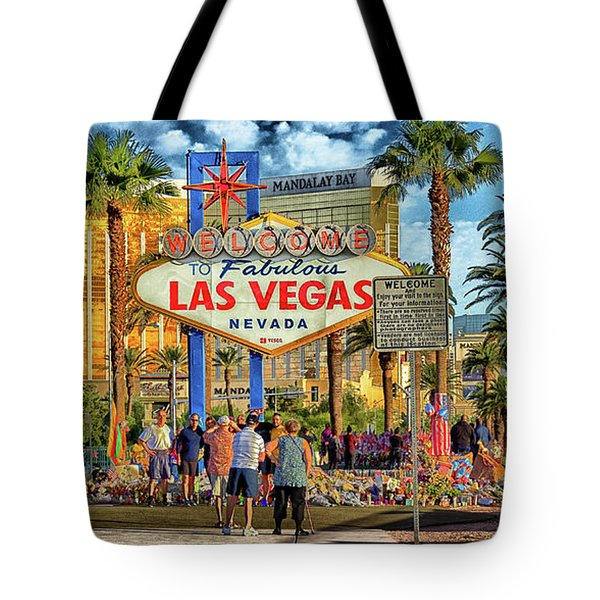 Tote Bag featuring the photograph Vegasstrong by Michael Rogers