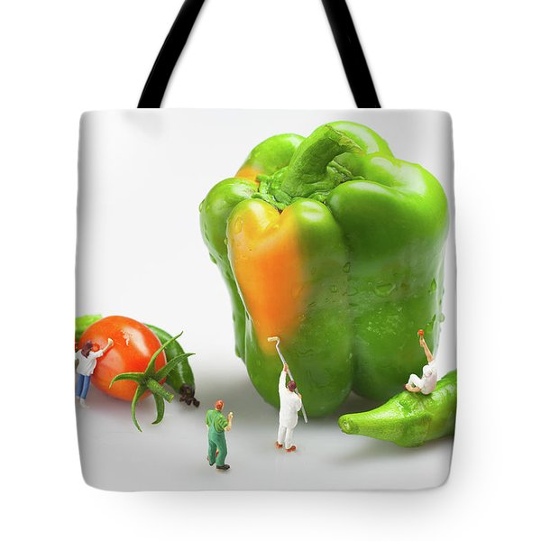 Tote Bag featuring the painting Vegetable Painting Little People On Food by Paul Ge