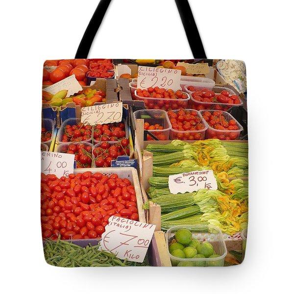 Vegetables At Italian Market Tote Bag by Carol Groenen
