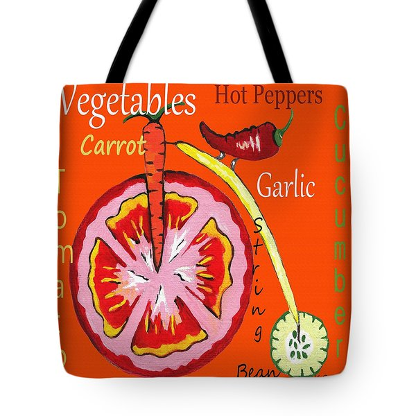 Tote Bag featuring the mixed media Vegetables by Kathleen Sartoris