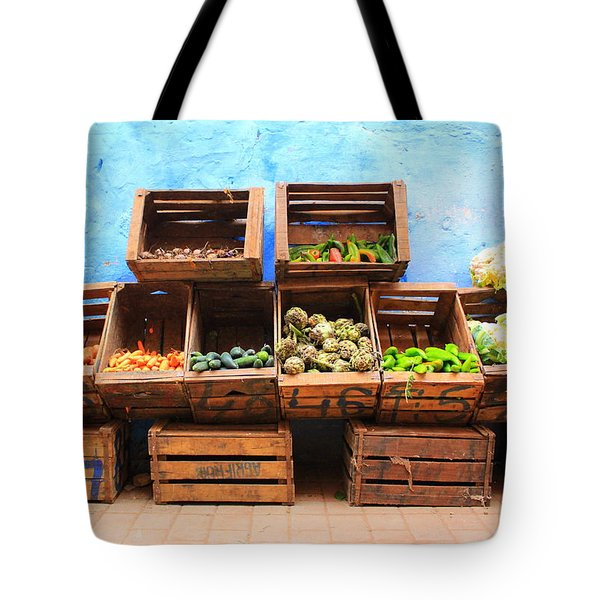 Tote Bag featuring the photograph Veggies And The Blue Wall by Ramona Johnston