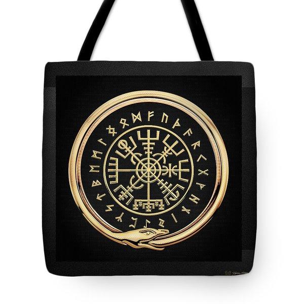 Vegvisir - A Magic Icelandic Viking Runic Compass - Gold On Black Tote Bag