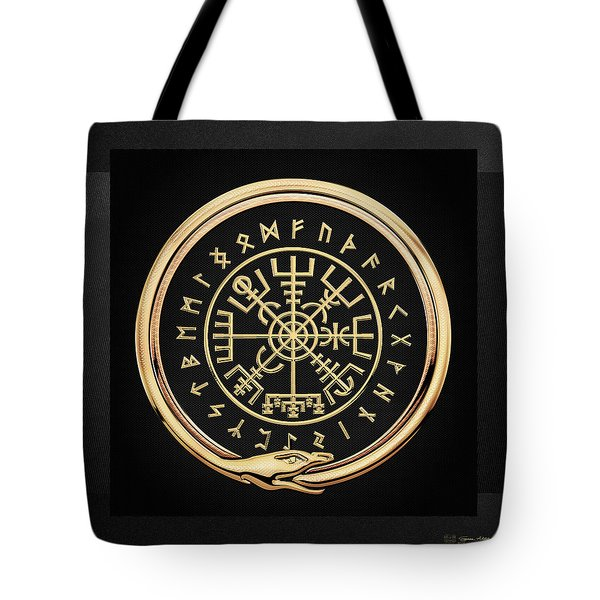 Vegvisir - A Magic Icelandic Viking Runic Compass - Gold On Black Tote Bag