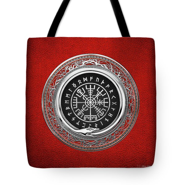 Vegvisir - A Silver Magic Viking Runic Compass On Red Leather  Tote Bag