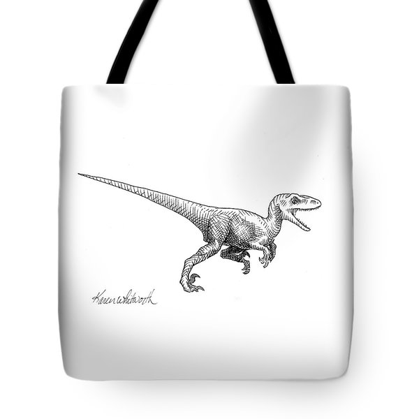 Velociraptor - Dinosaur Black And White Ink Drawing Tote Bag by Karen Whitworth