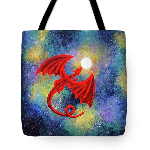 Velvet Red Dragon In Cosmic Moonlight Tote Bag